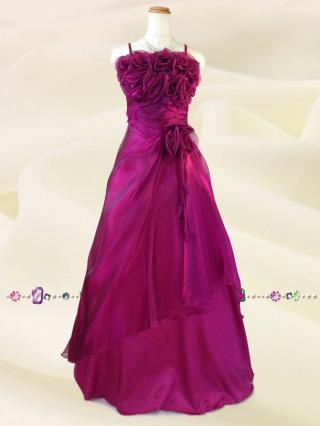 ラズベリーピンク 薔薇のカラードレス5760/演奏会 ラミューズドレス通販
