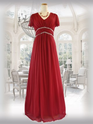 【L】シンプルビーズ・レッド袖付きロングドレス 8644/ 演奏会 ステージ衣装 発表会