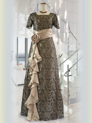 ゴールド・ソワール お袖付きロングドレス 8262演奏会ステージドレス