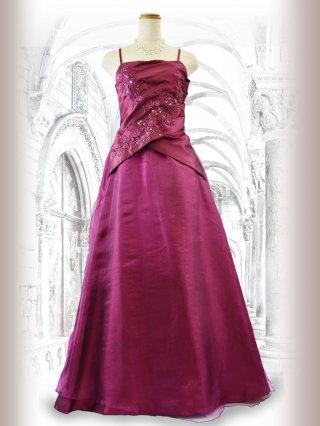 クロスプリーツの着やせドレス レッド 9374演奏会 ラミューズドレス通販