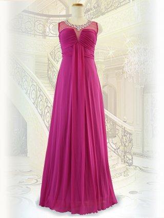 【小さめ】美シルエットピンクのビジューロングドレス8711 / 演奏会 ステージ衣装 発表会
