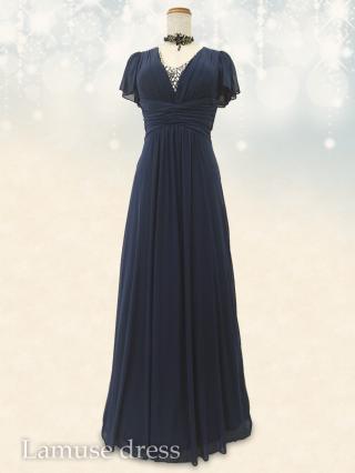 アマルフィ・ネイビー お袖付ロングドレス8555/演奏会ステージ衣装