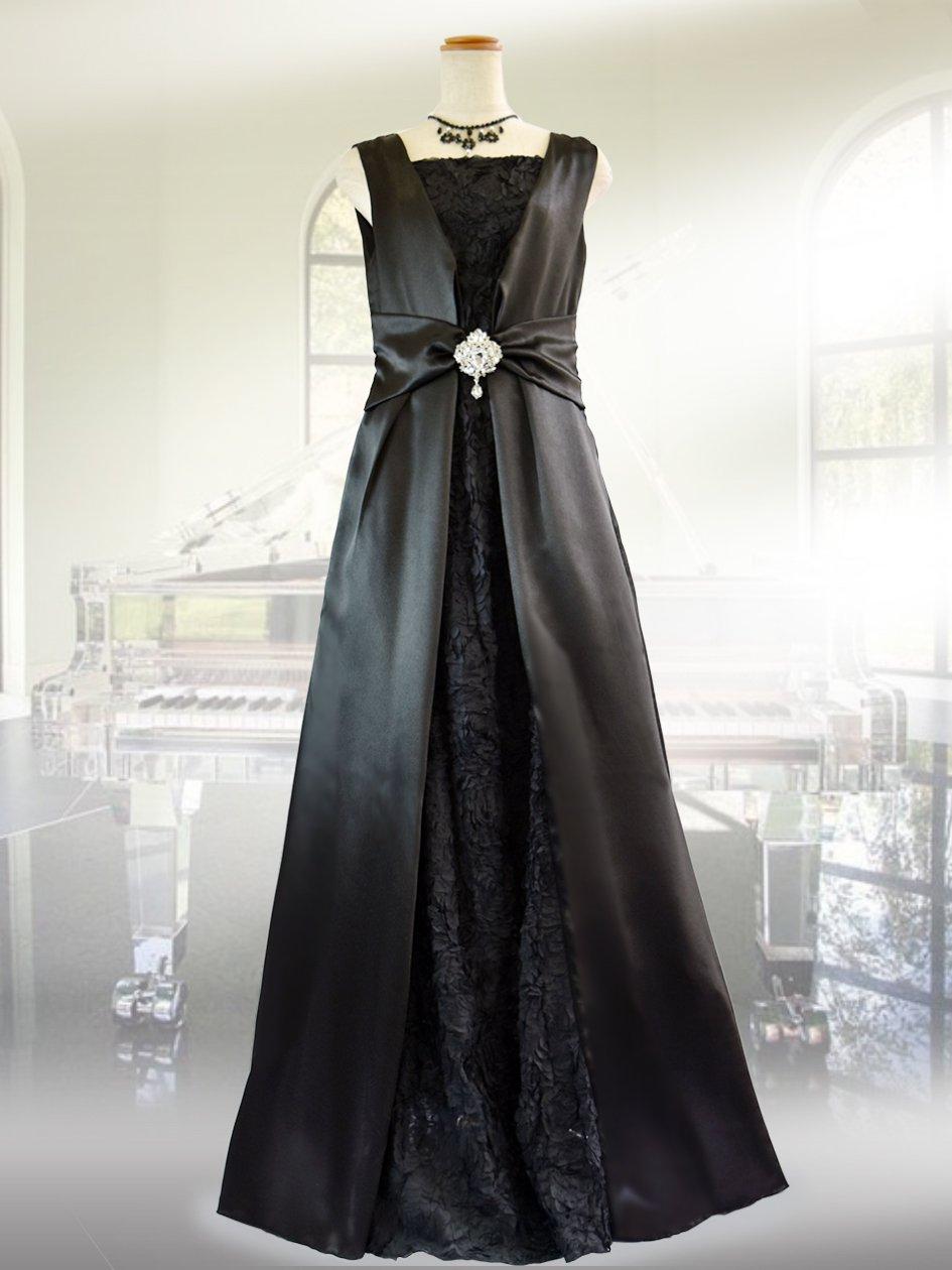 3a8fb96df9ad9  前後着用2way プレーン・ブラックロングドレス 9582演奏会ステージドレス