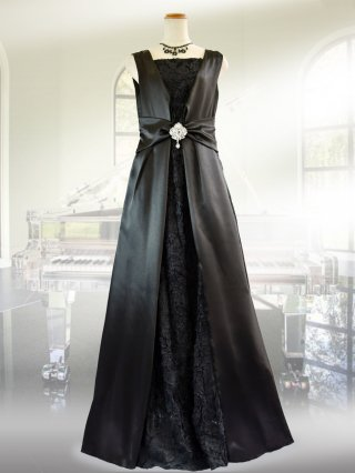 【前後着用2way】プレーン・ブラックロングドレス 9582演奏会ステージドレス