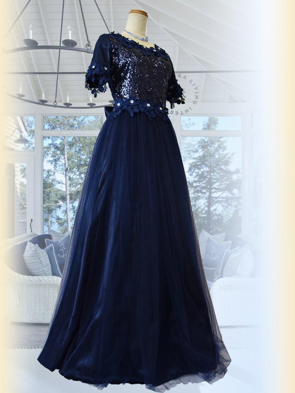 67763e23eec80 フラワーレース・ネイビー お袖付きロングドレス 5297 演奏会ステージドレス