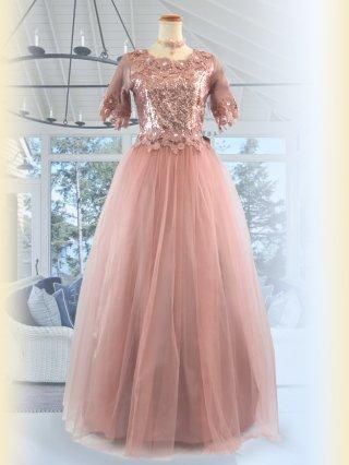 フラワーレース・ピンクゴールド お袖付きロングドレス 5297 演奏会ステージドレス