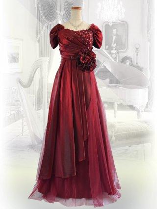 ランタナ・ワインレッド 着やせ 袖付きロングドレス 1477/ 演奏会 ラミューズドレス通販