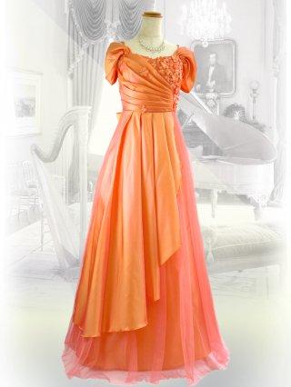 ランタナ・オレンジ 着やせ 袖付きロングドレス 1477/ 演奏会 ラミューズドレス通販