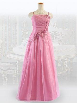 【背の低い方に】ピーチピンク・リトルロングドレス 1479/ 演奏会 ラミューズドレス通販