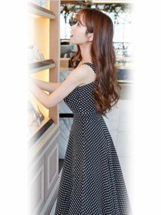 【大きめ】ドットプリント ブラックロングワンピース16930/ラミューズドレス