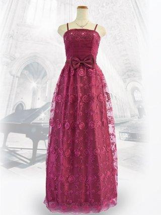 【Mサイズ】ビジューローズ・パープルピンクのロングドレス5293/ 演奏会 ラミューズドレス通販