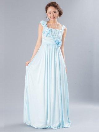 ピュアブルーのアシンメトリーロングドレス 6281/ 演奏会 ステージ衣装