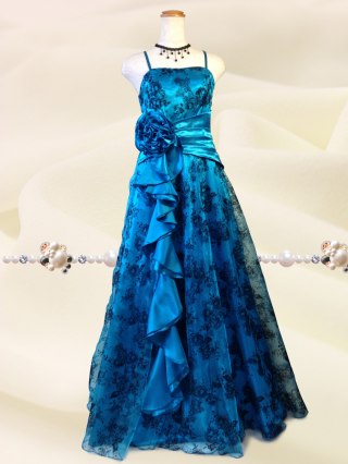 ドラマティックロングドレス ショール付き・パープル*ターゴイズブルー0216 / 演奏会 ラミューズドレス通販