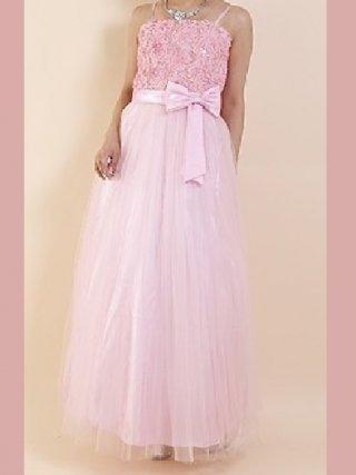 コード刺繍・チュールブルー*ピンクロングドレス9041/ 演奏会 ラミューズドレス通販