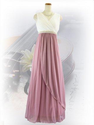 パールライン・バイカラー ロングドレス 白×ピンク 1060  演奏会ステージドレス