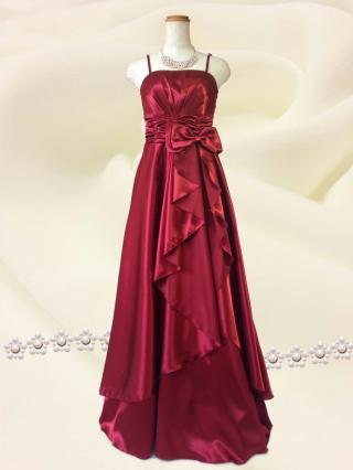 生地不良・上質サテンリボン ワインレッドの ロングドレス 6159