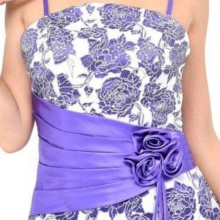 薔薇のプリントドレス*パープル*ロングドレス/演奏会ステージ衣装
