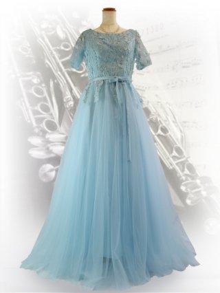 ベビー・ブルーお袖付き ロングドレス3354/ 演奏会 ラミューズドレス通販
