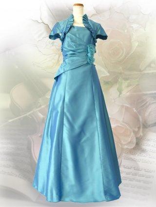 【Lサイズ】ガーネットグリーン*ボレロ風お袖付きロングドレス 0113演奏会ステージドレス