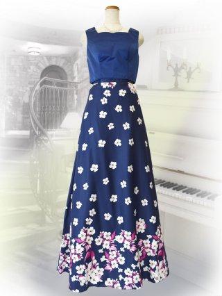 ツーピースドレス ブルー プリントスカート 3005BLUE演奏会ステージドレス
