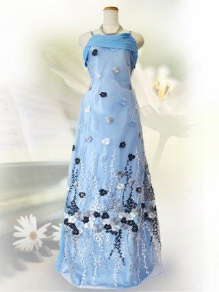 【LL】ライトブルー*フローラル刺繍ロングドレス 3068 演奏会ステージドレス