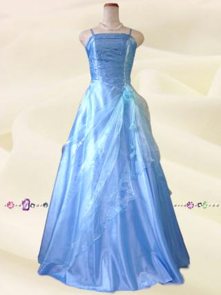 小柄な方*水色の鈴蘭ロングドレス9010/ 演奏会 ラミューズドレス通販