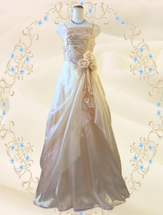 クリーム・ローズロングドレス*ライトベージュ9574/演奏会 ラミューズドレス通販