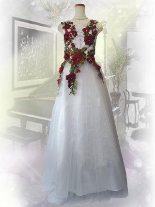 ROSE*ホワイトロングドレス 9991/ 演奏会 ラミューズドレス通販