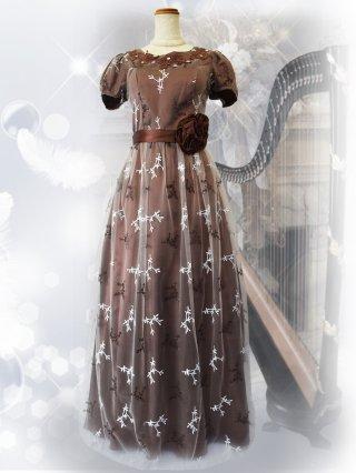 【L】ジュニパーツリー*チョコブラウン お袖付きロングドレス 9989演奏会ステージドレス
