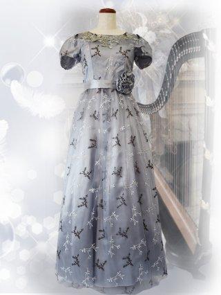【L】ジュニパーツリー*シルバーグレー お袖付きロングドレス 9989演奏会ステージドレス