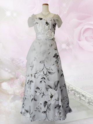 【L】アベリア・ホワイト袖付きロングドレス6779 演奏会ステージドレス