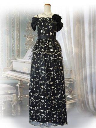 オリヴィア・ブラック袖付きロングドレス9988 演奏会ステージドレス