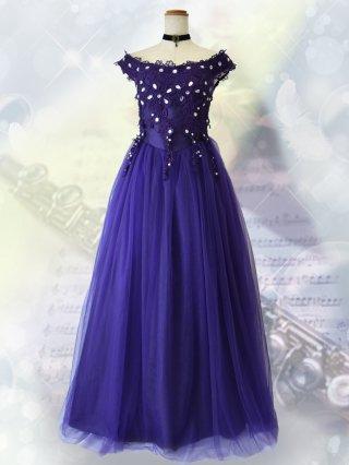 フレンチショルダードレス*ブルー 1292 演奏会ロングドレス