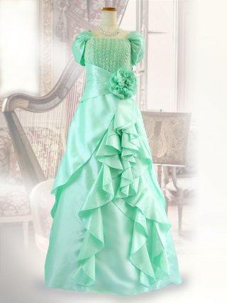ハープ・グリーン お袖付きロングドレス 1478P演奏会ステージドレス