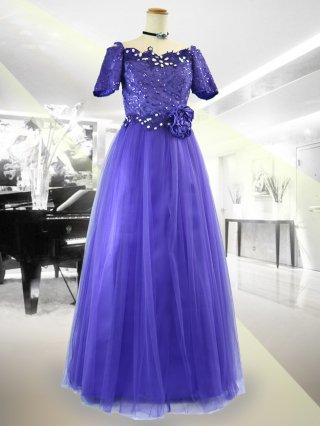【Lサイズ】着やせ!!パープルお袖付きドレス 9033 演奏会ドレス ラミューズドレス