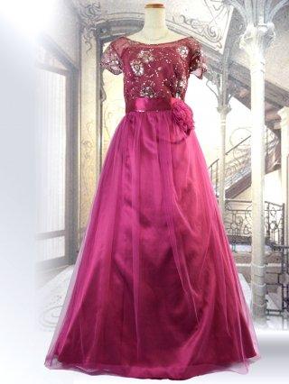 【M/L】【背の低い方に】アリーズ・レッドお袖付きロングドレス 1284演奏会ステージドレス