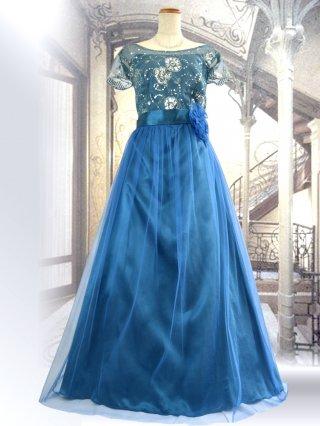 【M/L】【背の低い方に】アリーズ・ブルーお袖付きロングドレス 1284演奏会ステージドレス