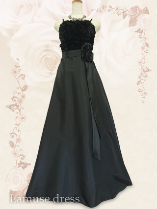 アンナ・ローズ ブラックのロングドレス9113/ 演奏会 ラミューズドレス通販