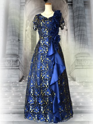 【3L】ハナミズキ・ブルー袖付きドレス3148/ラミューズドレス 演奏会 3148