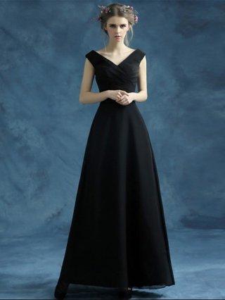 レンタル可【XS-XL】フレンチスリーブ・ブラックロングドレス 2008 演奏会 ステージドレス