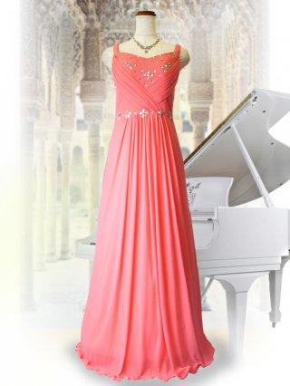 ダメージあり 美形ロングドレス  サーモンピンク 演奏会ステージドレス