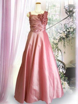 【バックリボンなし】ジルコン付き ピンク 幅広肩ひもロングドレス  3248 演奏会ロングドレス