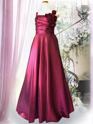 【バックリボンなし】ジルコン付き 幅広肩ひもロングドレス ワインパープル 3248 演奏会ロングドレス