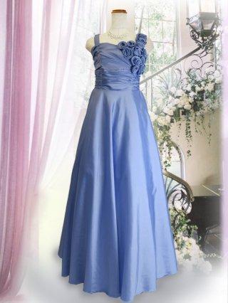 【バックリボンなし】ジルコン付き 幅広肩ひもロングドレス ライトブルー 3248 演奏会ロングドレス