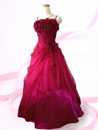 【Mサイズ】赤い薔薇のブーケロングドレス 5760/演奏会 ラミューズドレス通販