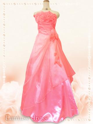 サーモンピンク薔薇のブーケロングドレス*5760/演奏会 ラミューズドレス通販