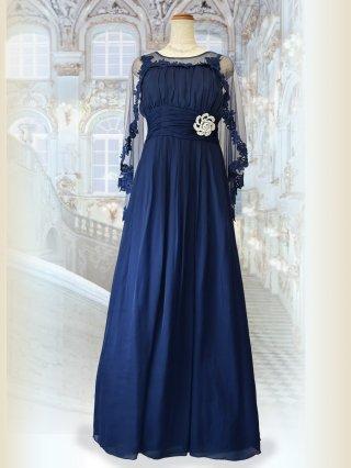 女神ケープ&ブローチ付きロングドレス*ネイビー 5579演奏会ステージドレス