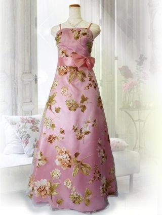 プリンセスフローラルドレス・ピンクの ロングドレス 2483P