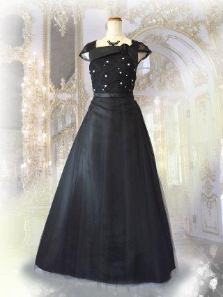 ラプンツェル・ブラック ロングドレス 3243/ 演奏会 ラミューズドレス通販
