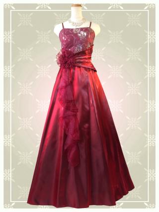 【Lサイズ】Belleワインレッド ロングドレス 9080 演奏会 ラミューズドレス通販